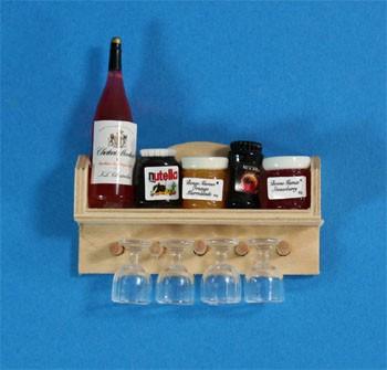 Tc0701 - Mensola con barattoli e coppe da vino