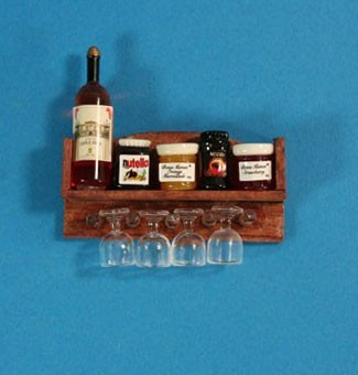 Tc0703 - Mensola con barattoli e bicchieri da vino