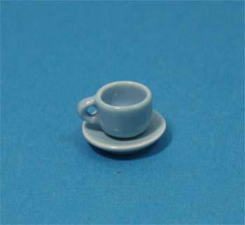 Cw0102 - Taza y plato celeste pequeña