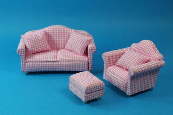 Cj0029 - Conjunto sofa cuadros rosas