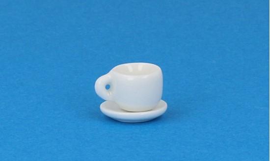Cw0101 - Taza y plato blanca pequeña