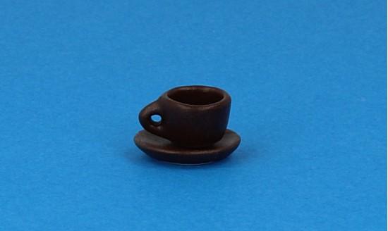 Cw0105 - Taza y plato marrón pequena