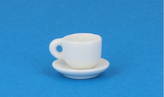 Cw0106 - Taza y plato blanca
