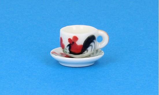 Cw0182 - Taza y plato decorado