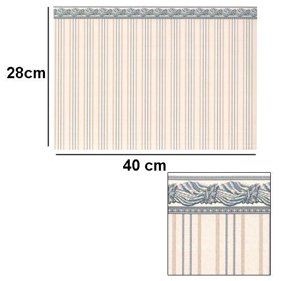 Br1017 - Papier avec frise victorienne bleue
