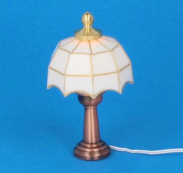 Sl3326 - Lámpara tiffany blanca de mesa