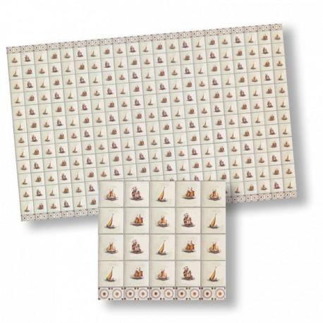 Wm34440 - Papel azulejos decorados