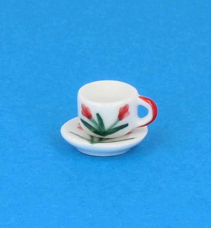 Cw0111 - Tasse mit Untertasse dekoriert