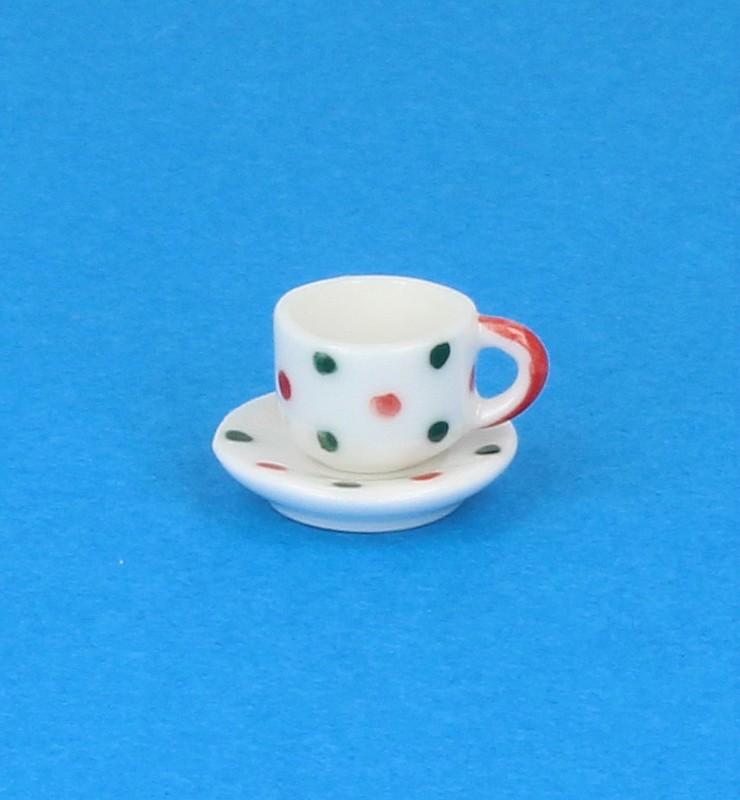 Cw0112 - Tasse et assiette décorée