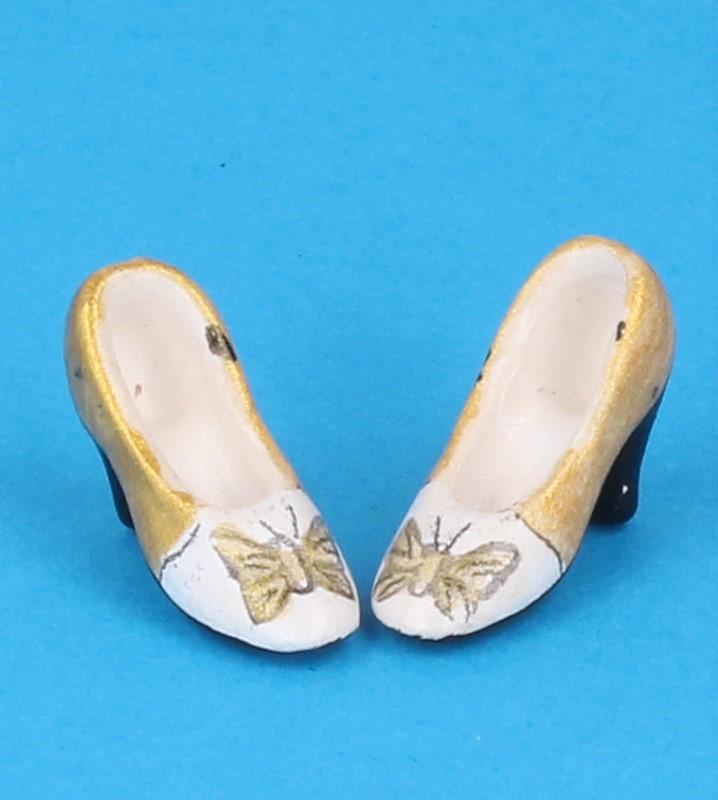 Tc0718 - Zapatos de tacón dorado