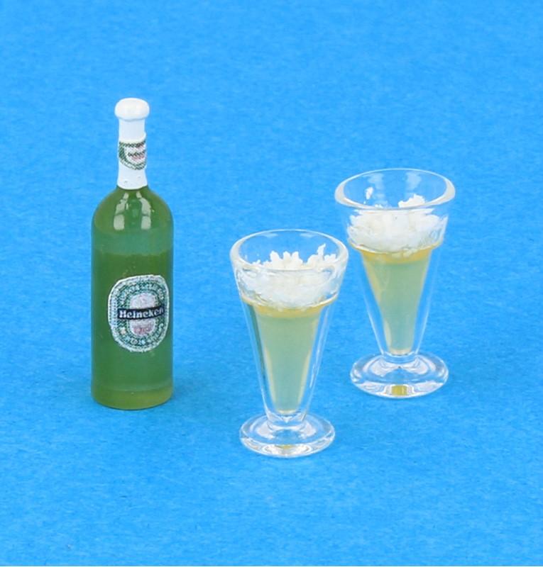Tc1666 - Botella de cerveza y vasos