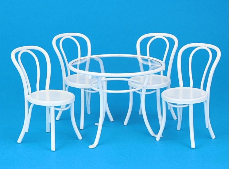 Mb0419 - Mesa y 4 sillas blancas