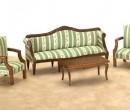 Conjunto sofa rayas verdes