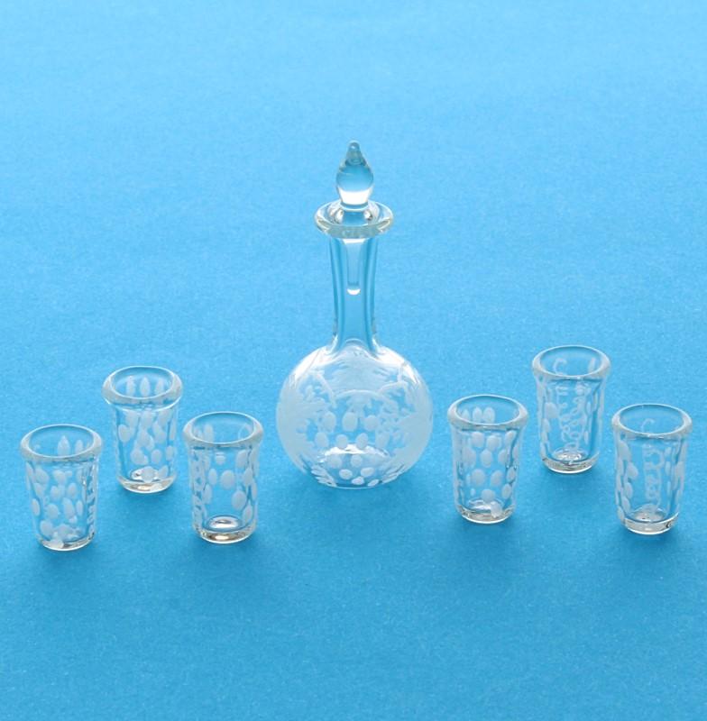 Tc1000 - Carafe en verre avec des verres