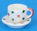 Cw0192 - Tasse mit Untertasse dekoriert