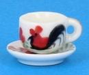 Cw0193 - Tasse mit Untertasse dekoriert
