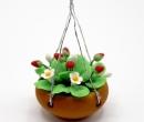 Tc0582 - Pot de fleurs à suspendre fleurs et fraises