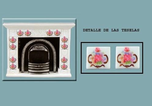 Re17871 - Chimenea con teselas rosas