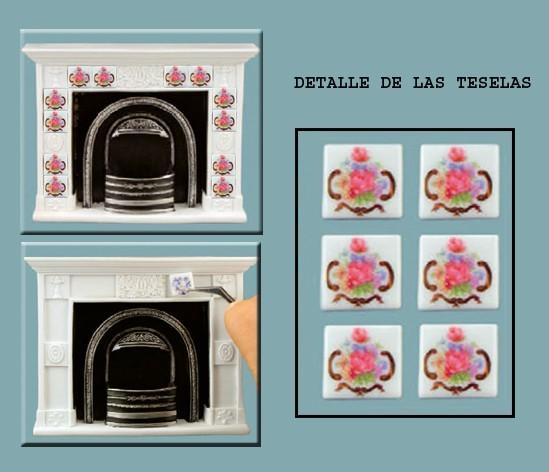 Re17911Re17870 - Chimenea con teselas rosas
