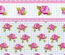 Mn1004 - Papel rayas azules con rosas y cenefa